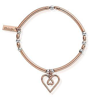 ChloBo Rose Gold And Silver Divine Love Heart Bracelet MBNBR575