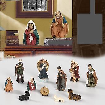 Elegante set di presepe profilo, include figure decorative in resina sacra di famiglia