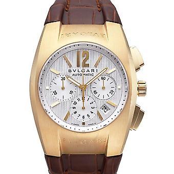 Bvlgari Ergon Silver Dial 18kt Yellow Gold Brown Leather Men's Watch EG40C6GLDCH