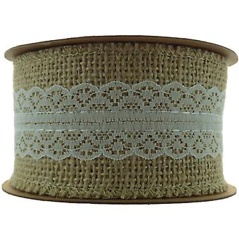 Woven Edge Hessian and Lace Ivory No.61