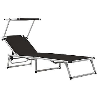 vidaXL sammenleggbart bord med solbeskyttelse aluminium og tekstiler svart