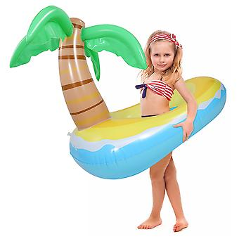 Clispeed Inflatable Coconut Tree Swimming Ring Kids Summer Party Swim Ring Outdoor Easy To Inflate Swim Float For For Pool Party (120x80cm, Blue)
