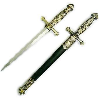 """Neliö kompassi messinki vapaamuurari miekka veitsi käärme liekehtivä terä / musta röykkiö 15.5"""""""
