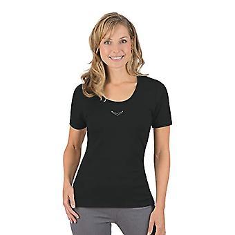 Trigema Trigema Damen T-Shirt mit Swarovski Kristallen-camiseta Mujer, Negro (Schwarz 008), Small