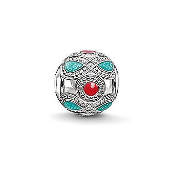 Thomas Sabo Karma Beads, Nainen, Bead ' etninen turkoosi ja punainen , sterling hopea 925, enamelled punainen, turkoosi
