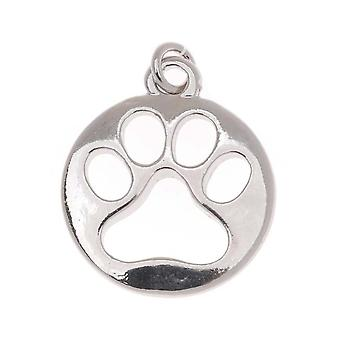 Silver Tone Circle Charm With Cut Out Paw Print 19mm (1)