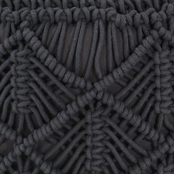 vidaXL Makramee Sitzpuff Handgefertigt Anthrazit 45x30 cm Baumwolle