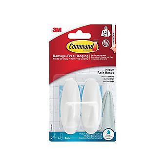 Command Medium Bathroom Hooks (Pack 2) 17081B