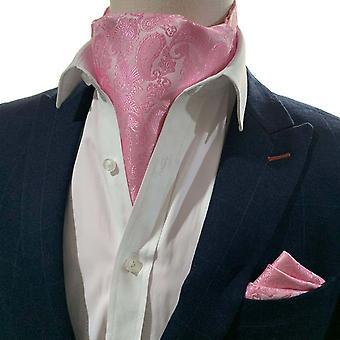 Kirkkaan vaaleanpunainen paisley-kravatti ja taskun neliösetti