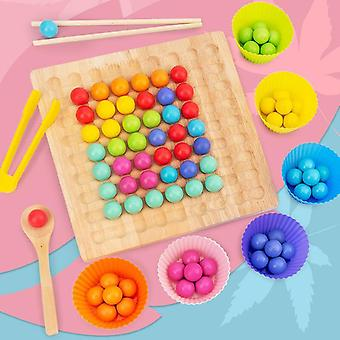 Wooden Montessori Kids Hands Brain Training Clip Beads Puzzle Board Math Game Counting Hands