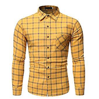 Men & apos;s عارضة الاختيار زر Lapel قميص طويل الأكمام