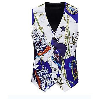 Mens White Anchor Printed Single Breasted Vest Gothic Steampunk Victorian Brocade Waistcoat