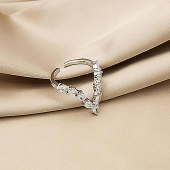 V-shaped Zircon Micro Ring Set Woman Delicate Personality Light Luxury Opening