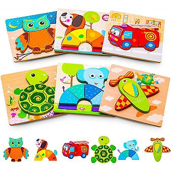 Animal Puzzles For Toddlers, 6 Pcs Wooden Jigsaw Puzzles For Kids