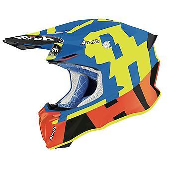 Airoh Twist 2.0 Frame Azure Motocross ATV Helmet Matt Blue Yellow Orange