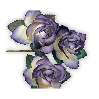 SISTE FÅ - 12 lilla 45mm papir roseblomster