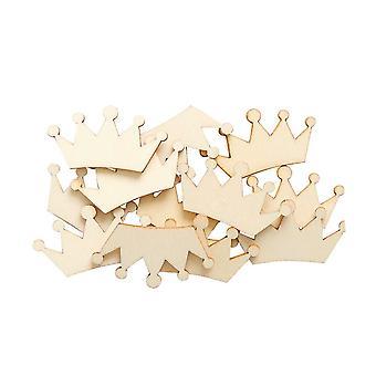 SISTA FÅ - 12 Trä 35mm Crown Papercraft Utsmyckningar | Korttillverkning Toppers & Scrapbooking Supplies