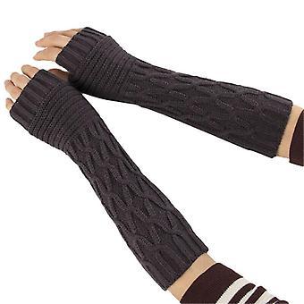 (Dunkelgrau) Frauen Thermal Soft Fäustlinge Armwärmer Geschützte fingerlose lange gestrickte Handschuhe