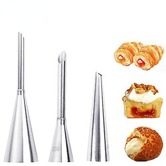 Delidge 3pcs/set piping bag nozzles set stainless steel cupcake cake decorating tips for puff cream pastry piping nozzles
