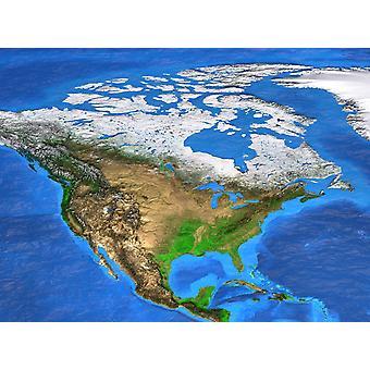 Bakgrunnsmaleri satellittvisning av Nord-Amerika
