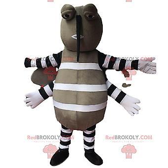 Mascote REDBROKOLY.COM mosquito cinza, disfarce de inseto voador, praga