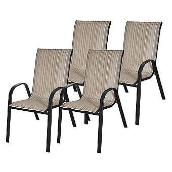 Puutarhatuolit - 4 tuolia - musta-ruskea raidallinen