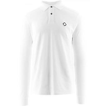 MA.STRUM White Long Sleeve Pique Polo Shirt
