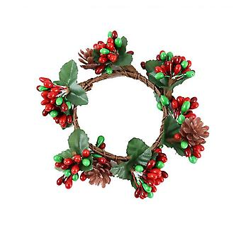 Artificial Christmas Wreath Decorative Collection Flocked With Mixed Decorations