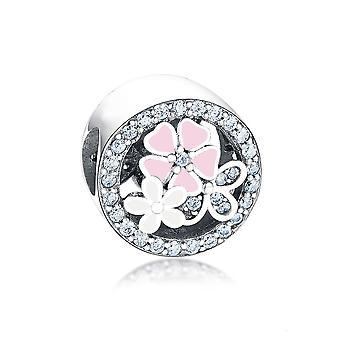 Tavaszi virág Charm 925 Ezüst ékszer Fit Pandora Charms karkötő gyöngyök Sliver