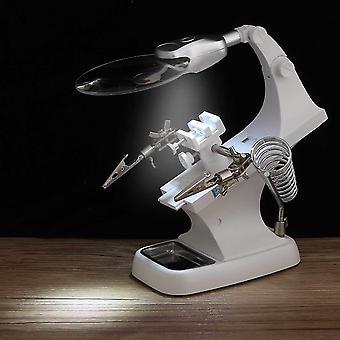 3X / 4.5x soldador lupa lupa de soldadura de tercera mano caimanes soporte de clip de pie