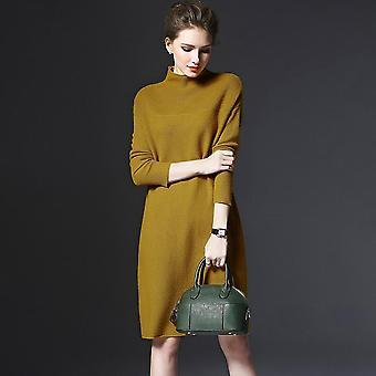 Luźny sweter Golf Jednolity kolor Kobiety Długi rękaw Casual Dzianinowa sukienka