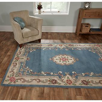 Lotus Aubusson Blue  Rectangle Rugs Traditional Rugs
