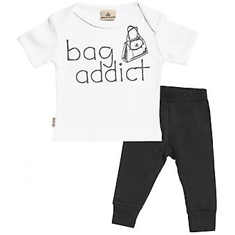 Spoilt Rotten Bag Addict Baby T-Shirt & Baby Jersey Trousers Outfit Set