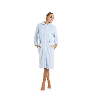 Camille Blue Knee Length Button Up Front Fleece Housecoat