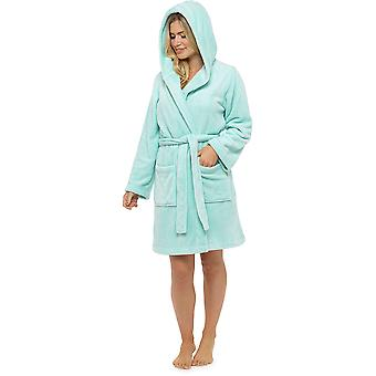 Ladies Tom Franks Warm Classic Fleece Hooded Wrap Over Bathrobe Dressing Gown