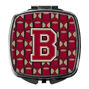 Letter B Football Garnet and Gold Compact Mirror