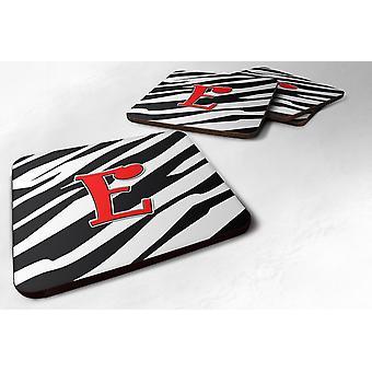 Satz von 4 Monogramm - Zebra rot Schaumstoff Untersetzern erste Buchstabe E