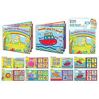 First Steps Bath Book Set of 2 Jungle and Travel Bathtime Fun 6m+