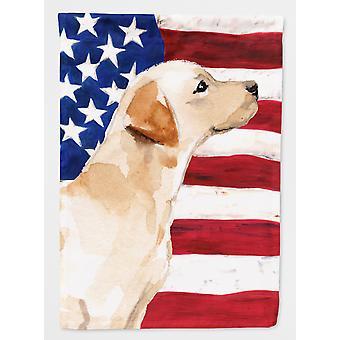 Gul Labrador #2 patriotiske flagg lerret huset størrelse