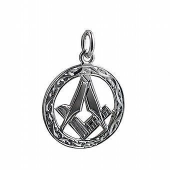 Серебряный 21 мм ручной гравировкой масонской эмблеме в круг кулон