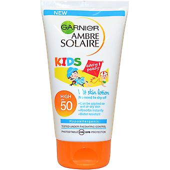Garnier Ambre Solaire Kids Lotion Can be applied to Wet or Dry Skin 150ml SPF50 Water Resistant Hypoallergen