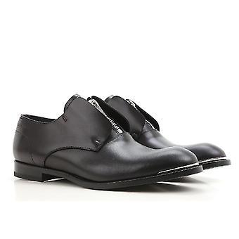 Alexander McQueen men's zip loafers in black calf leather