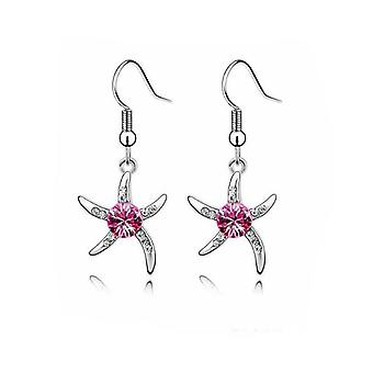 Womens Silver Starfish Earrings with Purple Stone