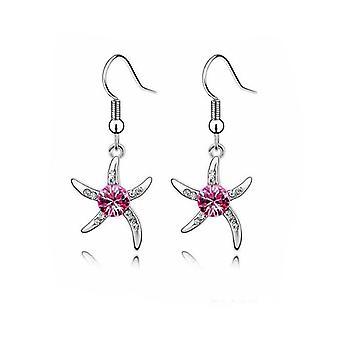 Womens Silber Seestern Ohrringe mit lila Stein