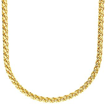 Sterling 925 Silver bling wheat chain - SPIGA 4 mm gold