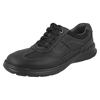 Mens Clarks Casual Shoes Cotrell Style - Black Oily Leather - UK Size 9.5G - EU Size 44 - US Size 10.5M