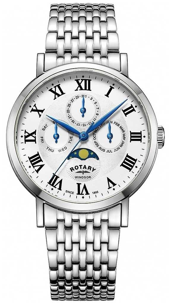 Rotary Mens Windsor Moonphase Silver Tone Bracelet GB05325/01 Watch