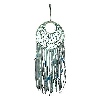 Blue and White Triple Hoop Feathers and Lace Dreamcatcher
