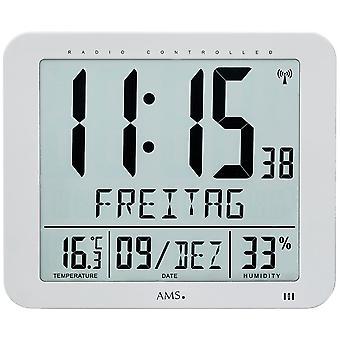 AMS 5884 wall clock clock radio radio kontrolleret væg ur digital dato vækkeur termometer