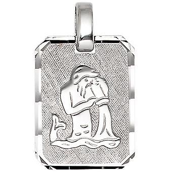 Trailer dyrekretsen Aquarius 925 sterling sølv rhodium belagt delvis frostet